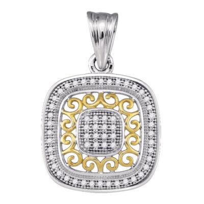 10kt Two-tone Gold Womens Round Diamond Square Pendant 1/6 Cttw