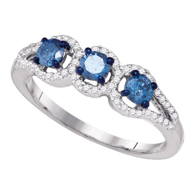 10kt White Gold Round Blue Color Enhanced Diamond 3-stone Bridal Wedding Ring 5/8 Cttw