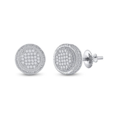 Sterling Silver Mens Round Diamond Disk Circle Earrings 1/6 Cttw