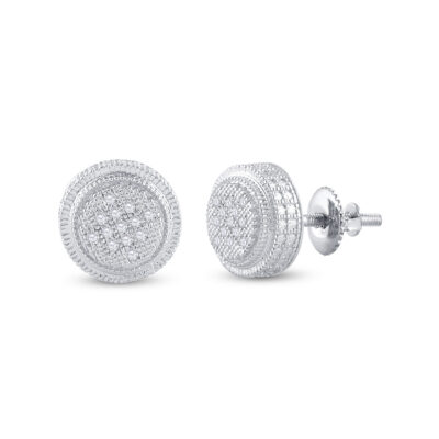 Sterling Silver Mens Round Diamond 3D Circle Disk Earrings 1/20 Cttw