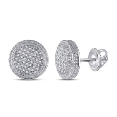 Sterling Silver Mens Round Diamond Disk Circle Earrings 1/4 Cttw