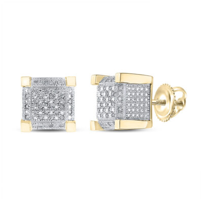 Yellow-tone Sterling Silver Mens Round Diamond 3D Cube Square Earrings 1/5 Cttw