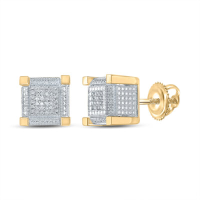 Yellow-tone Sterling Silver Mens Round Diamond Square Earrings 1/10 Cttw