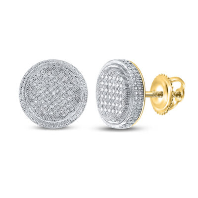 Yellow-tone Sterling Silver Mens Round Diamond Disk Circle Earrings 1/4 Cttw