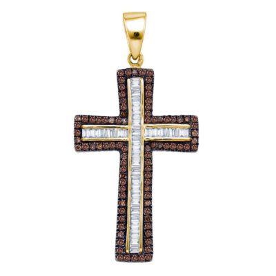 Yellow-tone Sterling Silver Womens Round Brown Diamond Cross Outline Pendant 1 Cttw