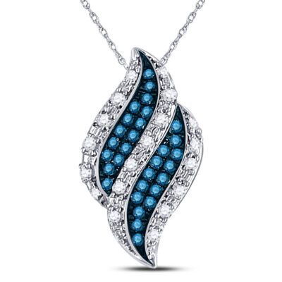 10kt White Gold Womens Round Blue Color Enhanced Diamond Cluster Pendant 1/10 Cttw