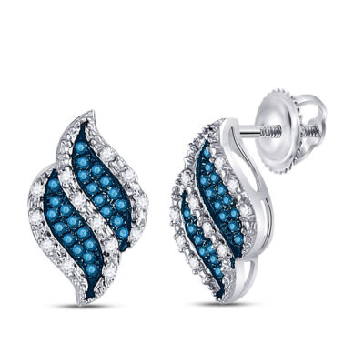 10kt White Gold Womens Round Blue Color Enhanced Diamond Fashion Earrings 1/6 Cttw
