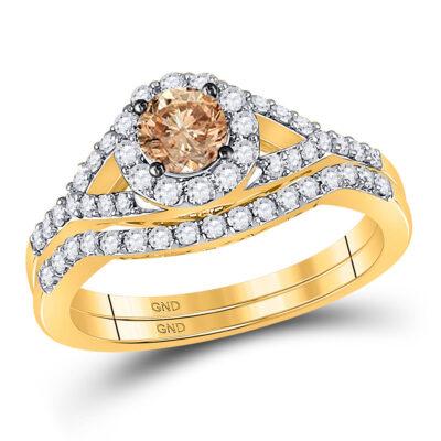 14kt Yellow Gold Round Brown Diamond Bridal Wedding Ring Band Set 1 Cttw
