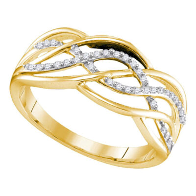Yellow-tone Sterling Silver Womens Round Diamond Woven Crossover Strand Band 1/10 Cttw