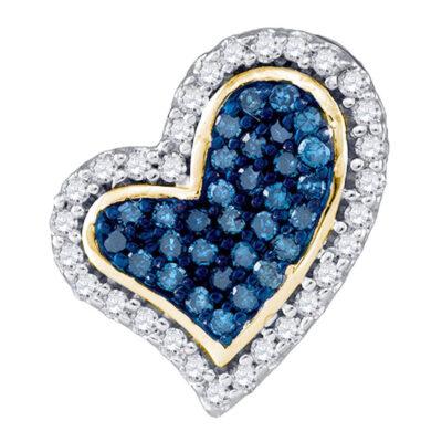 10kt Yellow Gold Womens Round Blue Color Enhanced Diamond Heart Pendant 1/8 Cttw