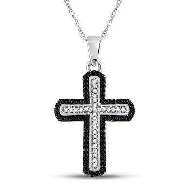 10kt White Gold Womens Round Black Color Enhanced Diamond Cross Pendant 1/5 Cttw