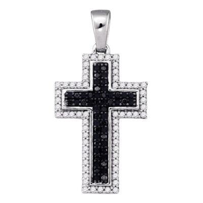 10kt White Gold Womens Round Black Color Enhanced Diamond Cross Religious Pendant 1/4 Cttw