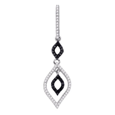 10k White Gold Black Color Enhanced Diamond Womens Leaf-shape Dangle Pendant 1/4 Cttw