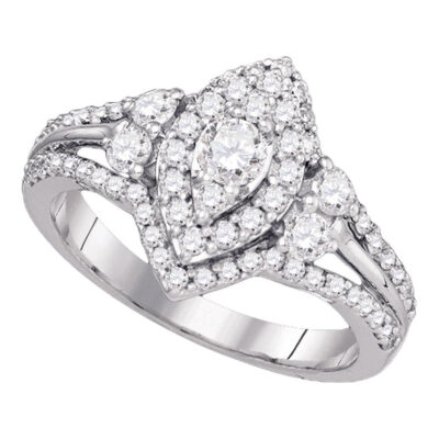 14k White Gold Round Pave-set Diamond Bridal Wedding Engagement Ring 1/5 Cttw