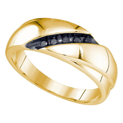 Yellow-Tone Sterling Silver Mens Round Black Color Enhanced Diamond Band Ring 1/8 Cttw