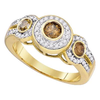 10kt Yellow Gold Round Brown Diamond 3-stone Bridal Wedding Engagement Ring 3/4 Cttw