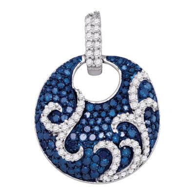 10kt White Gold Womens Round Blue Color Enhanced Diamond Circle Pendant 1 Cttw