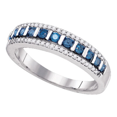 10kt White Gold Womens Blue Color Enhanced Diamond Band Ring 1/3 Cttw