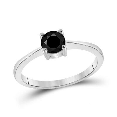 10kt White Gold Round Black Color Enhanced Diamond Solitaire Bridal Engagement Ring 3/4 Cttw