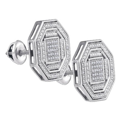 Sterling Silver Mens Round Diamond Octagon Cluster Stud Earrings 1/6 Cttw