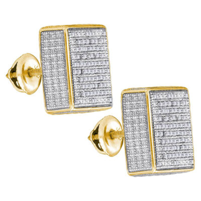 Yellow-tone Sterling Silver Mens Round Diamond Square Earrings 1/2 Cttw