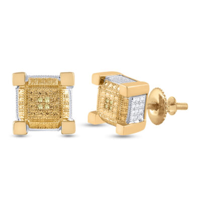 Two-tone Sterling Silver Mens Round Diamond 3D Square Earrings .03 Cttw