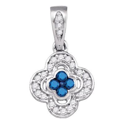 10kt White Gold Womens Round Blue Color Enhanced Diamond Quatrefoil Cluster Pendant 1/4 Cttw