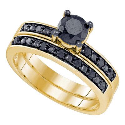 10kt Yellow Gold Womens Round Black Color Enhanced Diamond Bridal Wedding Ring Set 1 Cttw