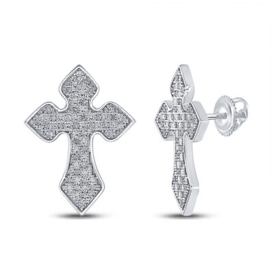 Sterling Silver Mens Round Diamond Crucifix Cross Earrings 1/5 Cttw