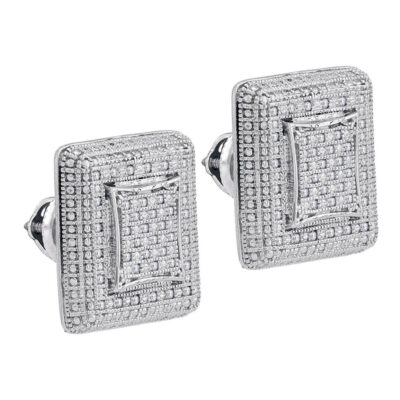 Sterling Silver Unisex Round Diamond Square Cluster Stud Earrings 1/4 Cttw