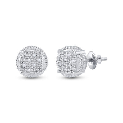 Sterling Silver Mens Round Diamond Cluster Earrings .03 Cttw