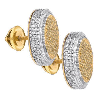 Yellow-Tone Sterling Silver Mens Yellow Color Enhanced Diamond Cluster Earrings 3/8 Cttw
