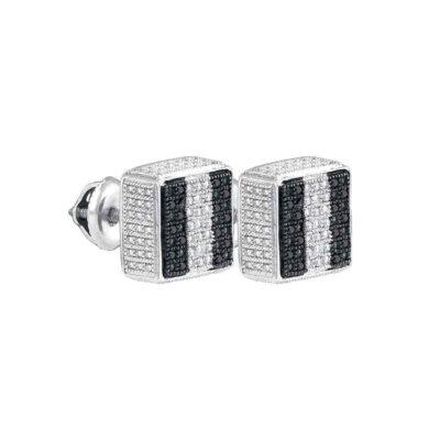 Sterling Silver Black Color Enhanced Round Pave-set Diamond Mens Square Stud Earrings