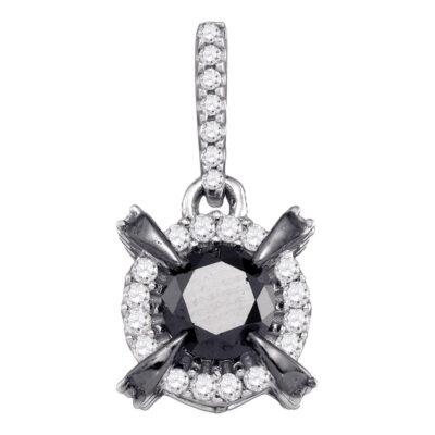 10kt White Gold Womens Round Black Color Enhanced Diamond Solitaire Pendant 1 Cttw