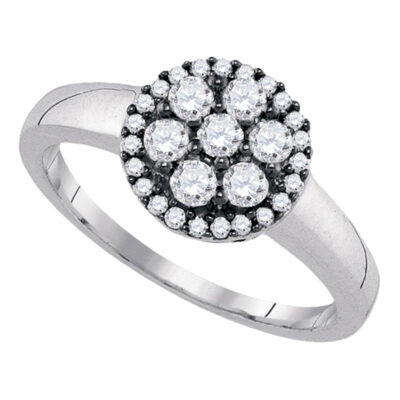 Sterling Silver Womens Round Diamond Flower Cluster Ring 1/2 Cttw