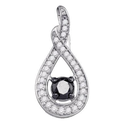 10kt White Gold Womens Round Black Color Enhanced Diamond Teardrop Pendant 1 Cttw