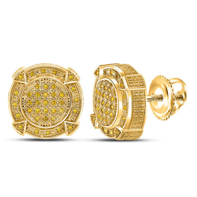 Yellow-Tone Sterling Silver Mens Round Yellow Color Enhanced Diamond Stud Earrings 1/5 Cttw