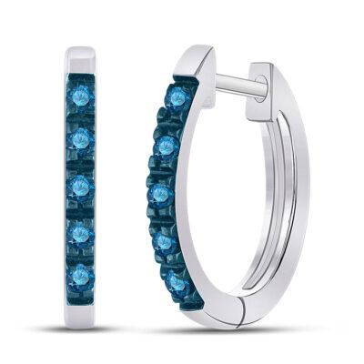 Sterling Silver Womens Round Blue Color Enhanced Diamond Hoop Earrings 1/4 Cttw