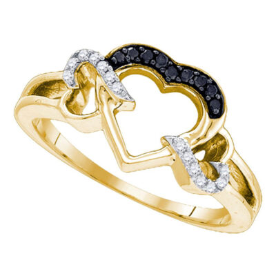 Yellow-tone Sterling Silver Womens Round Black Color Enhanced Diamond Heart Ring 1/8 Cttw