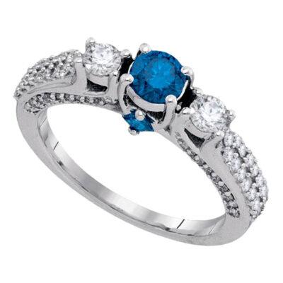 14kt White Gold Round Blue Color Enhanced Diamond 3-stone Bridal Wedding Ring 1-1/4 Cttw