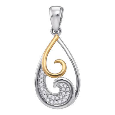 Sterling Silver Womens Round Diamond 2-stone Teardrop Pendant 1/20 Cttw