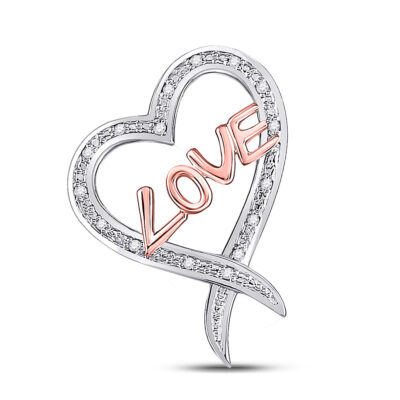 Sterling Silver Womens Round Diamond Love Heart Pendant 1/20 Cttw