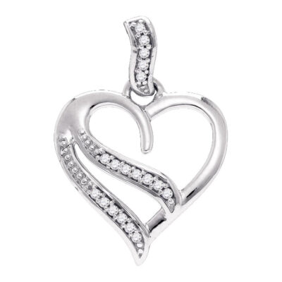 Sterling Silver Womens Round Diamond Heart Pendant 1/20 Cttw