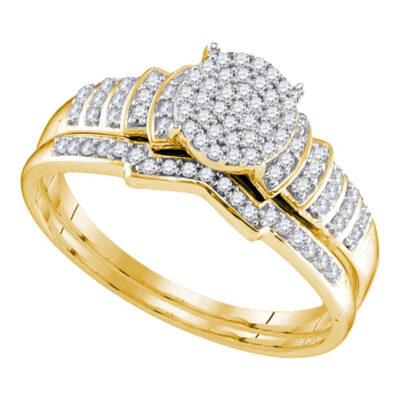 Sterling Silver Round Diamond Bridal Wedding Ring Band Set 1/4 Cttw