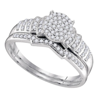 Sterling Silver Round Diamond Cluster Bridal Wedding Ring Band Set 1/4 Cttw