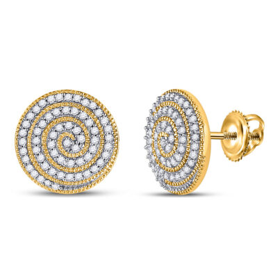 10kt Yellow Gold Mens Round Diamond Spiral Stud Earrings 3/8 Cttw