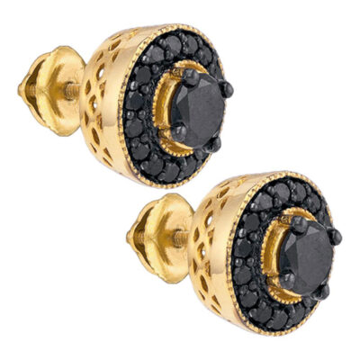 Yellow-tone Sterling Silver Mens Round Black Color Enhanced Diamond Stud Earrings 2 Cttw