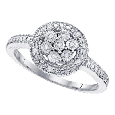 Sterling Silver Womens Round Diamond Flower Cluster Ring 1/8 Cttw