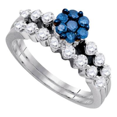 10kt White Gold Womens Round Blue Color Enhanced Diamond Bridal Wedding Ring Set 1 Cttw