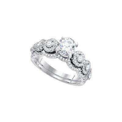 14kt White Gold Round Diamond Bridal Wedding Ring Band Set 1-5/8 Cttw